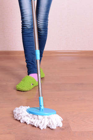 House cleaning with  mop Stock Photo - 24033005