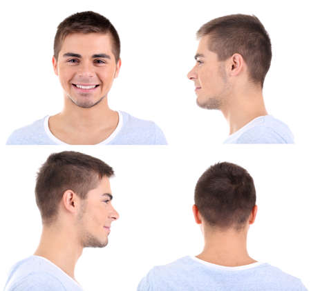 side profile: Collage of handsome young man isolated on white Stock Photo