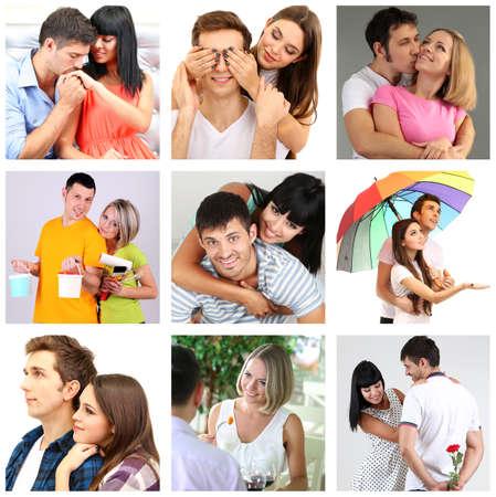Collage of happy couples photo