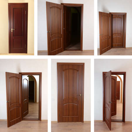 Collage of wooden doors photo