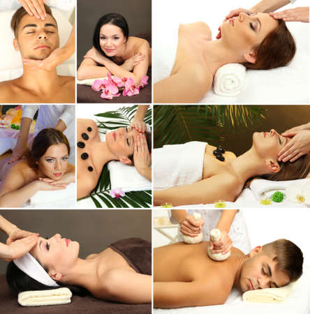 spa collage: Collage of healthy massage and spa Stock Photo