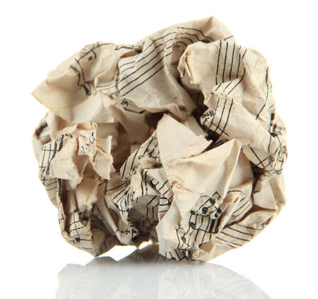 wastrel: Crumpled paper ball isolated on white Stock Photo