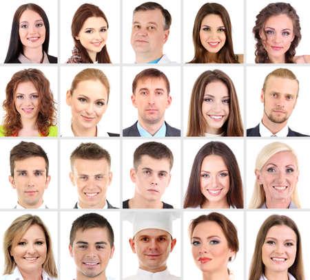 diferentes profesiones: Collage de muchas caras humanas diferentes