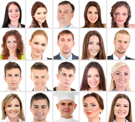 happy faces: Collage of many different  human faces Stock Photo