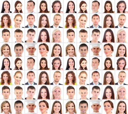 rosto humano: Colagem de muitos rostos humanos diferentes
