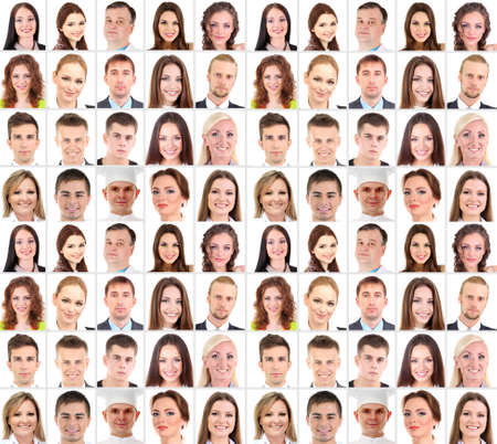 multiple family: Collage of many different  human faces Stock Photo