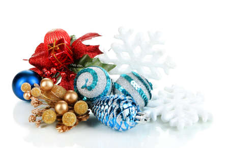 Composition of Christmas balls isolated on white photo