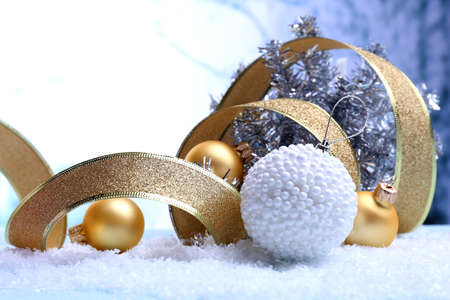 Christmas decorations on light background photo