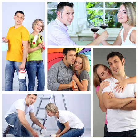 Collage of happy couple photo