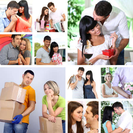 Collage of happy couples photo