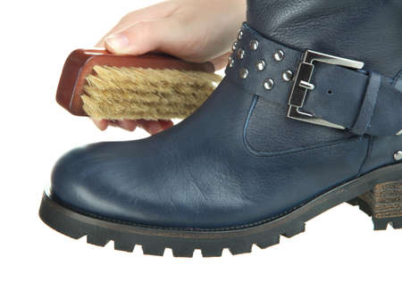 Shoe polishing close up photo