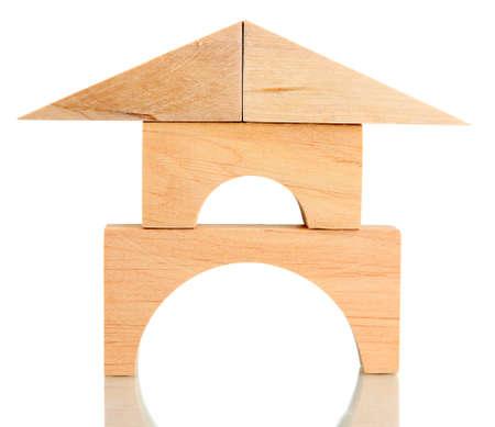 Wood house isolated on white photo