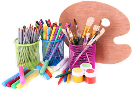 Composition of various creative tools isolated on white photo