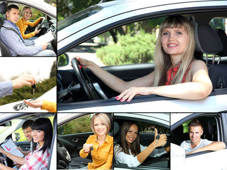 Car driving collage photo
