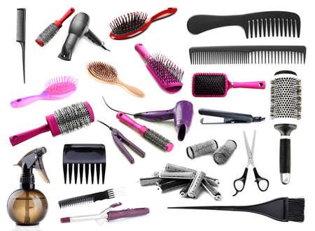 peluqueria: Collage de herramientas de peluquer�a aislados en blanco