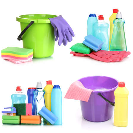 Cleaning items isolated on white photo