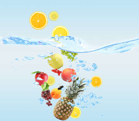 multivitamin: Fresh fruits dropped into water
