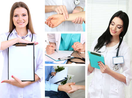 Collage of medical staff in working environment photo