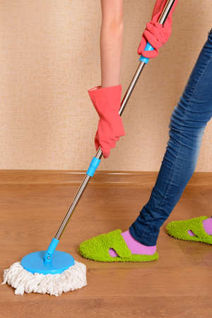 House cleaning with  mop Stock Photo - 24207035
