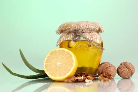 strengthening: Healthy ingredients for strengthening immunity on green  Stock Photo