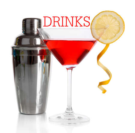 martini shaker: Red cocktail in martini glass with shaker isolated on white Stock Photo
