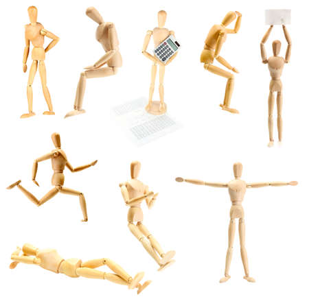 Collage of wooden mannequin in different positions photo