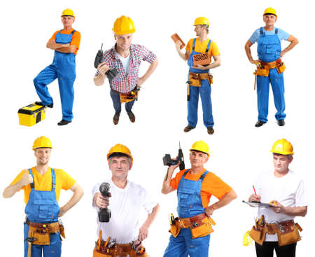 Collage of manual workers isolated on white photo