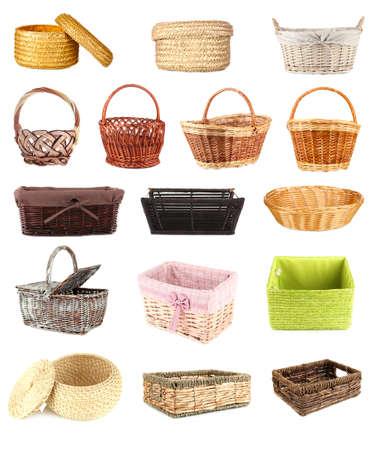 canasta de pan: Collage de diferentes canastas de mimbre