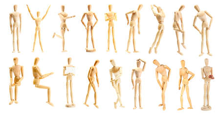 wood figurine: Collage of wooden mannequin in different positions