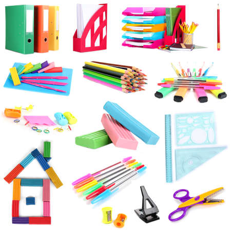 secretary tray: Collage of school and office supplies isolated on white