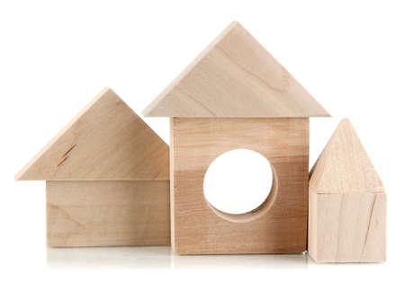 Wood houses isolated on white photo