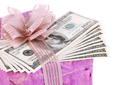 Gift box with money close up photo