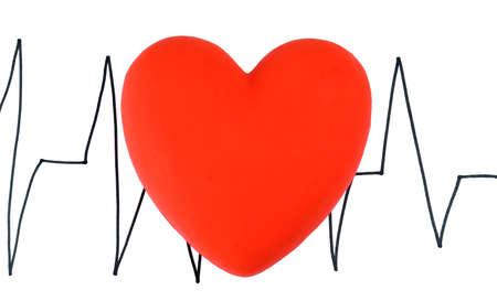 Heart on cardiogram background, isolated on white Stock Photo - 24327092