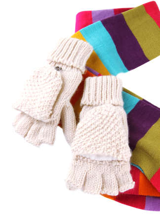 fingerless gloves: Wool fingerless gloves and multicolor scarf, isolated on white Stock Photo