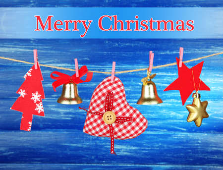 Christmas decorations on wooden  photo