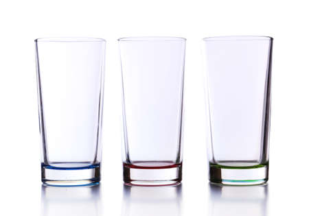 Empty glasses, isolated on white photo