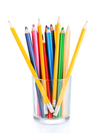 metall and glass: Colorful pencils in glass  isolated on white