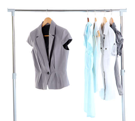 Office Clothes On Hangers, Isolated On White Stock Photo   24408494