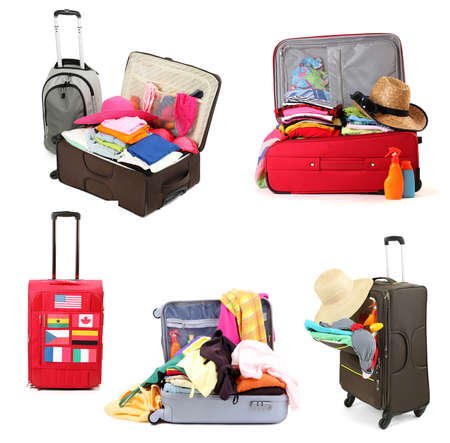 Collage of  luggage for travel photo