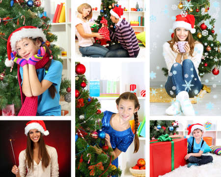 Collage of people celebrating Christmas at home photo