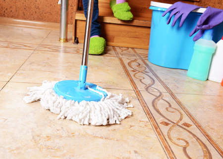 House cleaning with  mop Stock Photo - 24421227