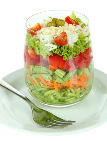 Tasty salad with fresh vegetables, isolated on white photo