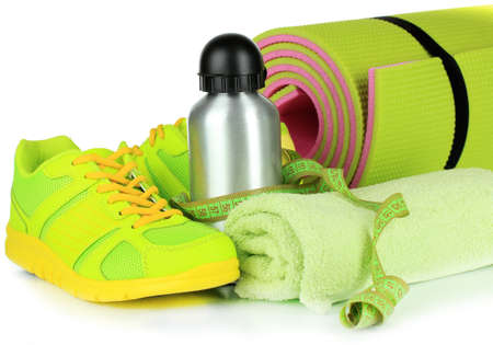 Different tools for sport isolated on white photo