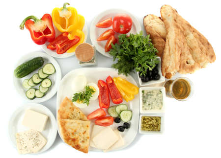 Traditional Turkish breakfast isolated on white photo