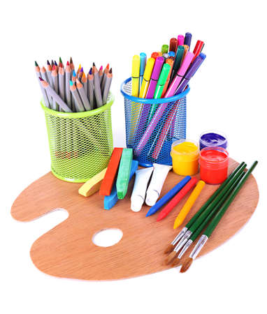 Composition of various creative tools isolated on white Stock Photo