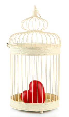 Heart in decorative cage, isolated on white Stock Photo - 24466229