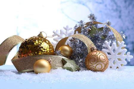 Christmas decorations on light background photo