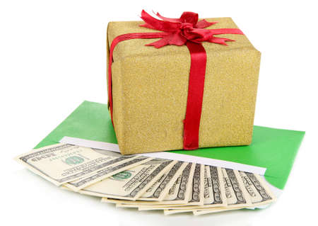 Gift box with money isolated on white photo