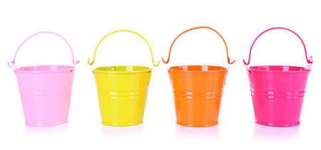 Empty buckets isolated on white photo