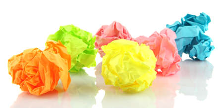 wastrel: Colorful crumpled paper balls isolated on white Stock Photo